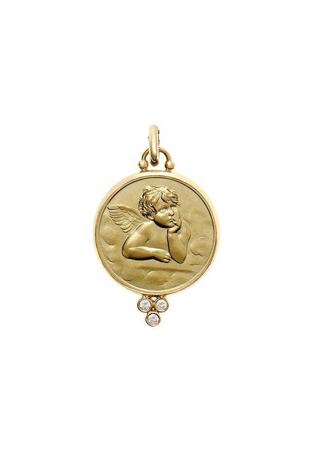 18K Yellow Gold Diamond Angel Pendant