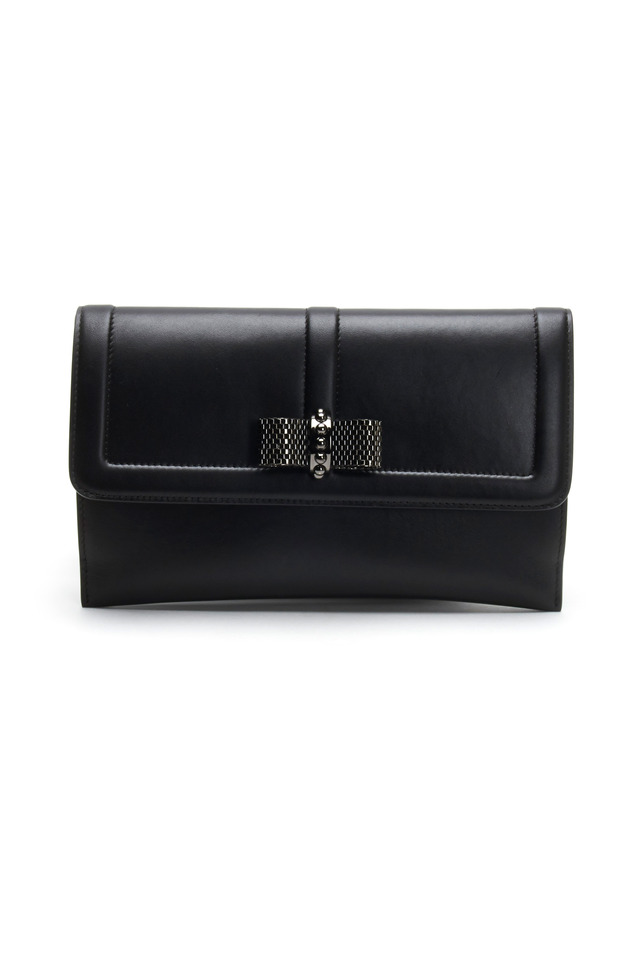 Black Leather Flap Pouchette With Bow