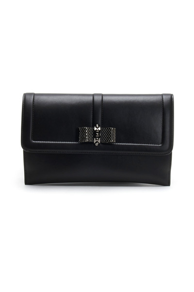 Christian Louboutin - Black Leather Flap Pouchette With Bow