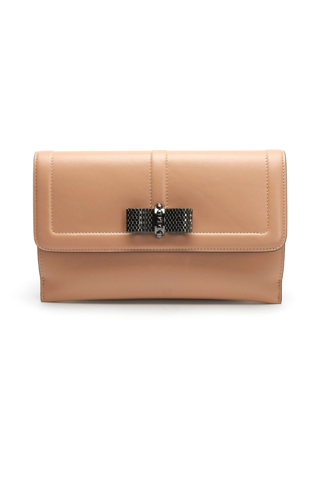 Nude Leather Flap Pouchette With Bow