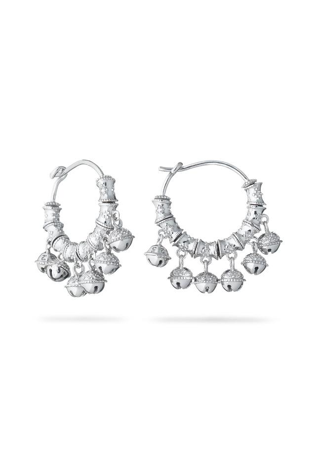 Tiny Bell Sterling Silver Hoop Earrings
