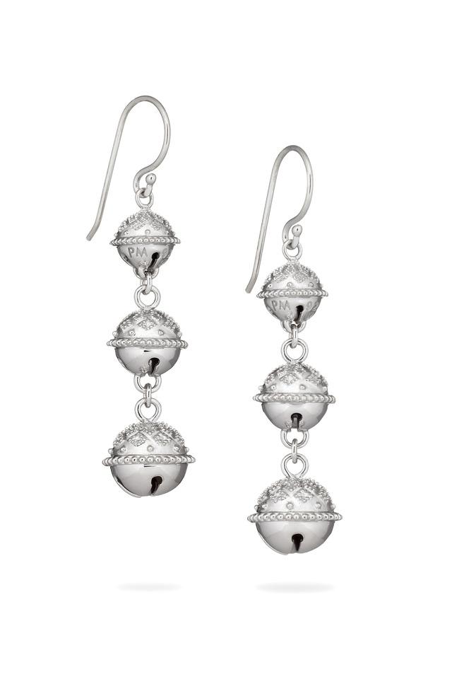 Triple Meditation Bell Silver Bell Earrings