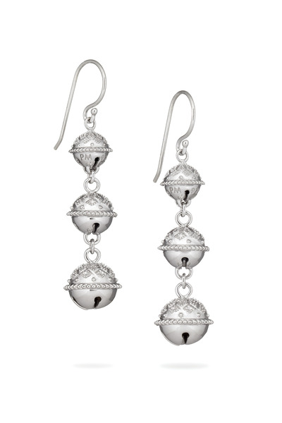 Paul Morelli - Triple Meditation Bell Silver Bell Earrings
