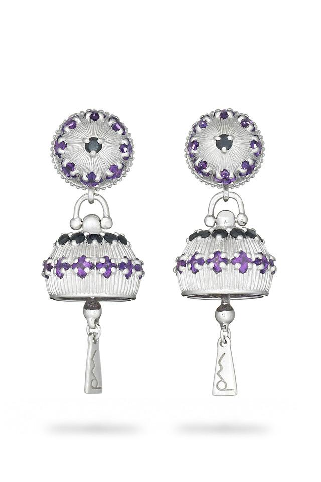 Meditation Bell Sterling Silver Amethyst Earrings