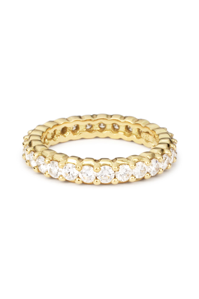 Yellow Gold Pinpoint Diamond Stack Ring