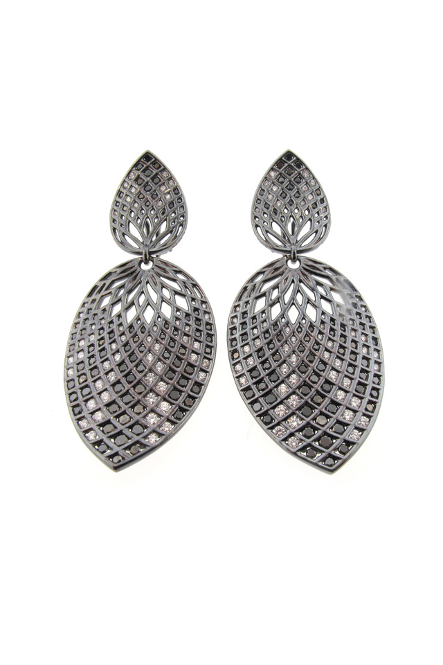 White Gold Spiral Mesh Leaf Earrings, Large
