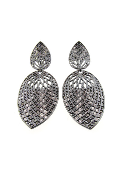 Paul Morelli - White Gold Spiral Mesh Leaf Earrings, Large