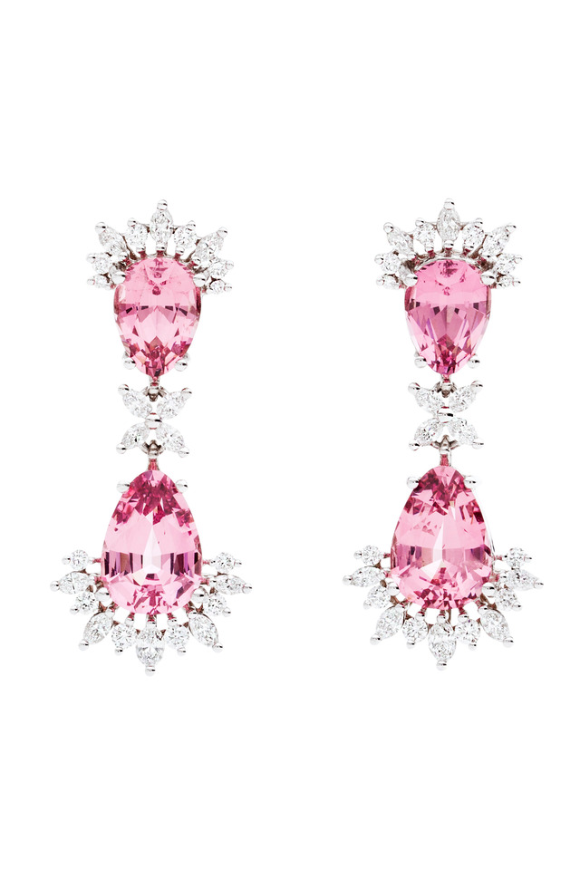 Spinel & Diamond Double Dangle Earrings
