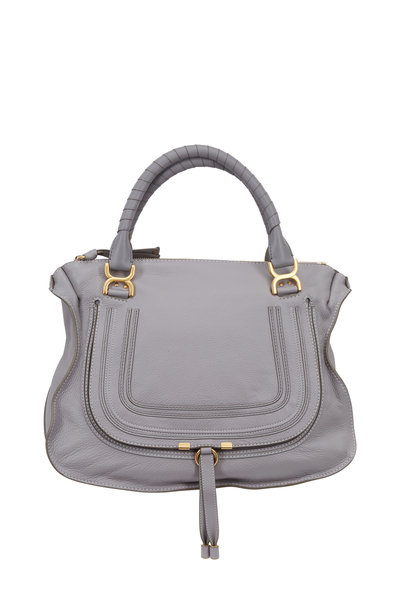 Chloé - Marcie Gray Textured Leather Large Shoulder Bag