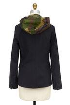 Veronica Beard - Black Wool Classic Blazer With Camo Hooded Dickey