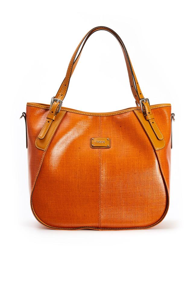 Orange Coated Linen Leather Trim Handbag