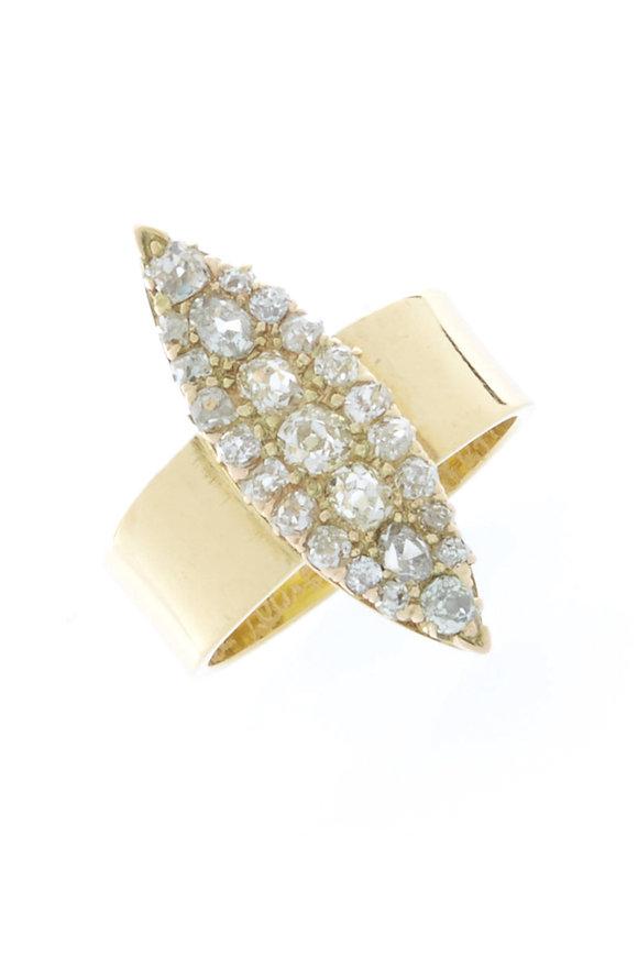 Renee Lewis Gold Antique Diamond Marquise Ring