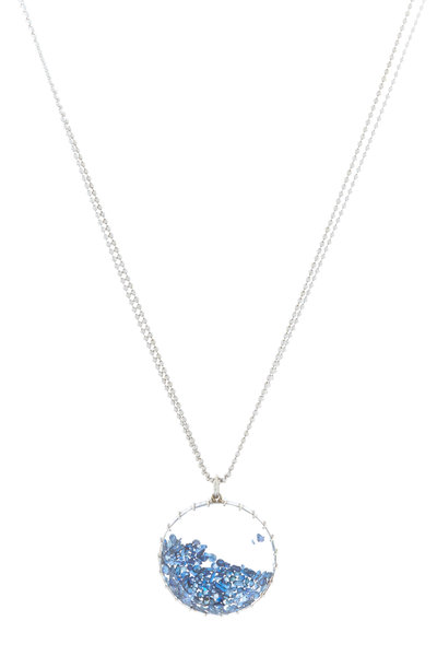 Renee Lewis - White Gold Antique Blue Sapphire Shake Necklace