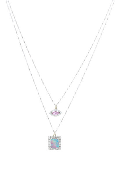 Renee Lewis - Gold Pink Topaz, Opal & Antique Diamond Necklace