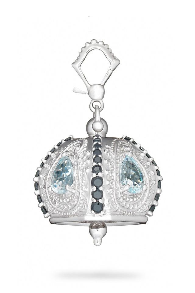 Meditation Bell Silver Blue Topaz Raja Pendant