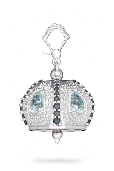 Paul Morelli - Meditation Bell Silver Blue Topaz Raja Pendant