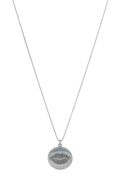 Tulah Jem - White Gold Black Diamond Lips Mantra Necklace
