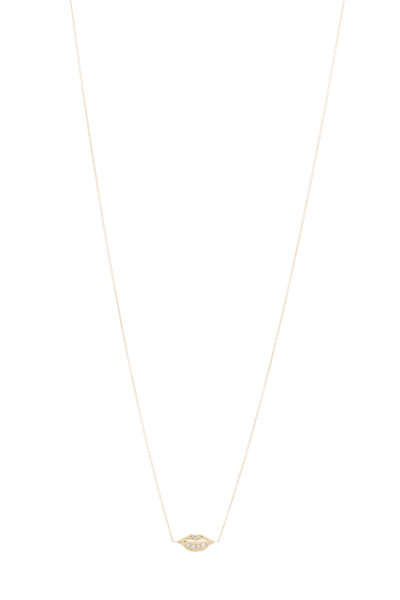 Tulah Jem - Yellow Gold Diamond Lips Necklace