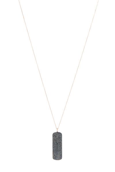 Tulah Jem - Rose Gold Plate Black Diamond Bar Necklace
