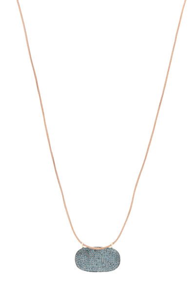 Tulah Jem - Leather Pavé-Set Blue Diamond Necklace