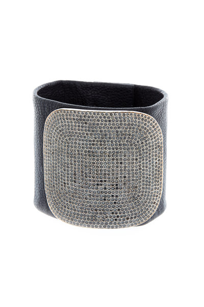 Tulah Jem - Black Leather Pavé-Set Black Diamond Bracelet