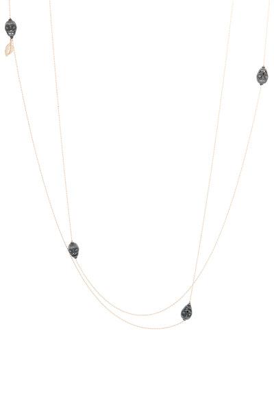 Tulah Jem - Rose Gold Black Diamond Skulls Necklace