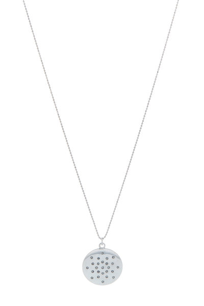 Tulah Jem - White Gold Scattered Diamond Mantra Necklace