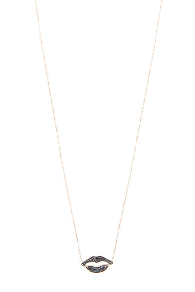 Tulah Jem - Rose Gold Black Diamond Lips Necklace