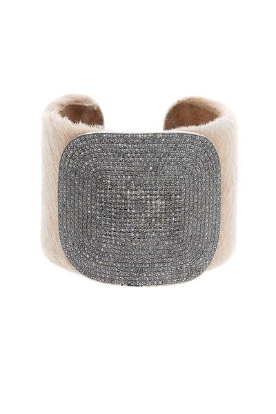 Tulah Jem - Nude Calf Hair Leather White Diamond Cuff Bracelet