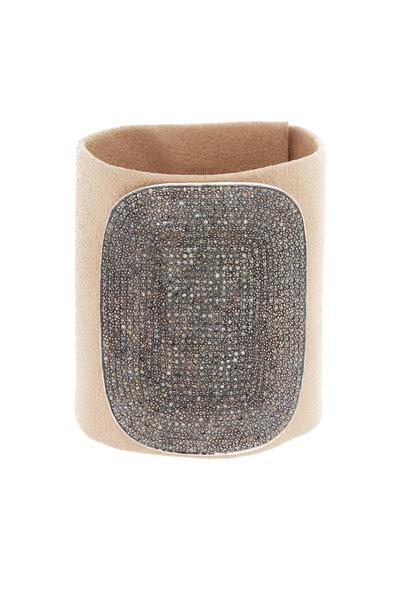 Tulah Jem - Nude Leather Pavé-Set White Diamond Bracelet