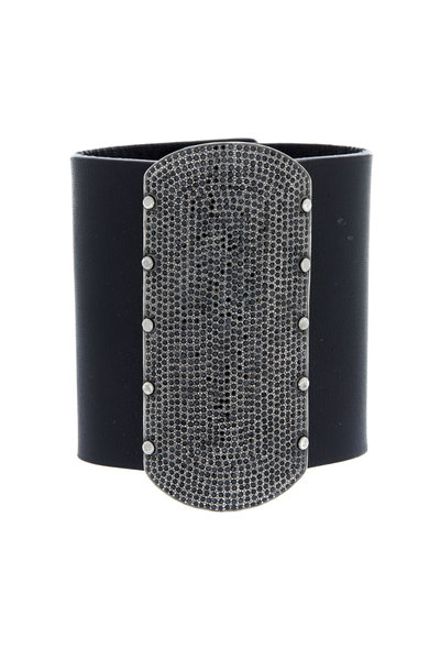 Tulah Jem - Black Leather Black Spinel Bracelet