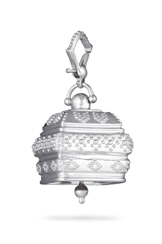 Meditation Bell Silver Square Granulated Pendant