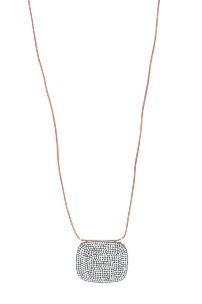 Tulah Jem - Leather Pavé-Set White Diamond Necklace