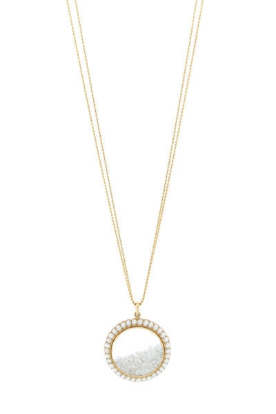 Renee Lewis - Gold Pearl Rimmed White Diamond Shake Necklace