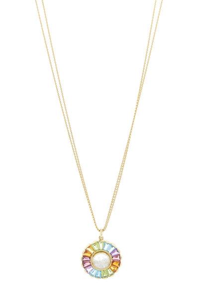 Renee Lewis - Yellow Gold Gemstone Rim Diamond Shake Necklace
