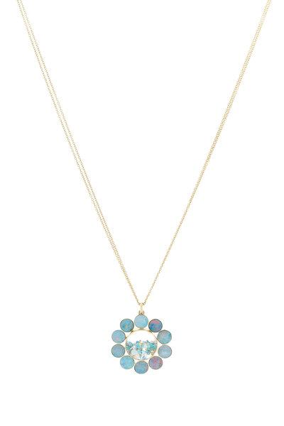 Renee Lewis - Gold Black Opal Turquoise Diamond Shake Necklace