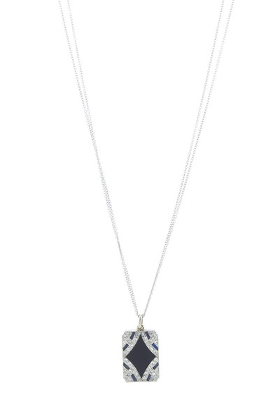 Renee Lewis - Gold & Platinum Onyx Diamond Deco Necklace
