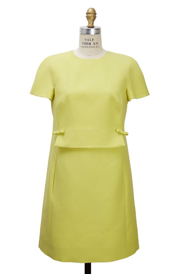 Citrus Deep Pleated Back Bow Dress
