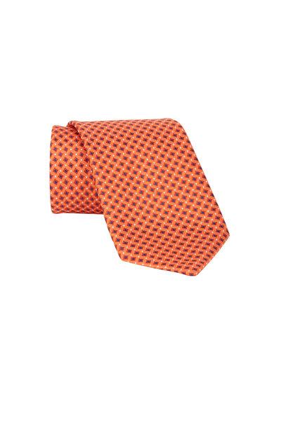 Brioni - Orange & Blue Square Silk Necktie