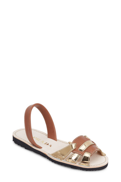 Prada - Brown & Gold Huarache Flat Sandal