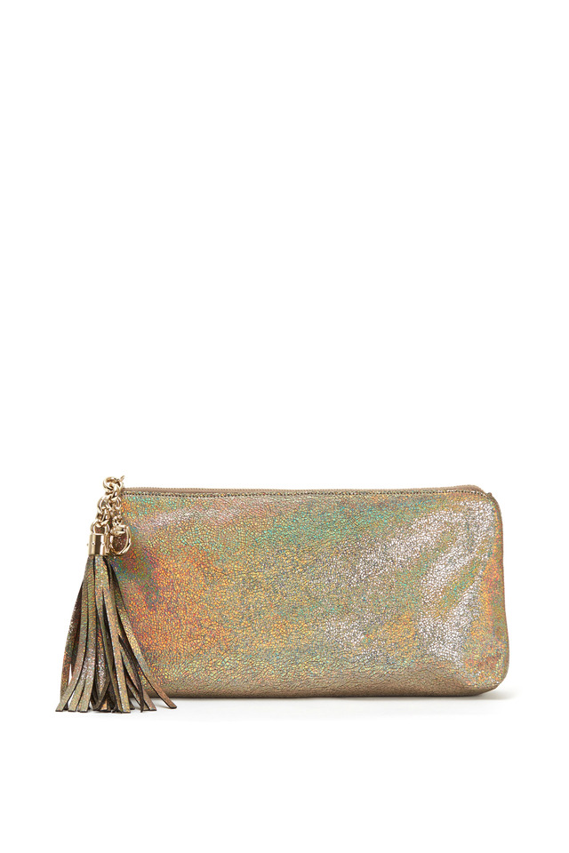 Broadway Metallic Silver Crackled Leather Clutch
