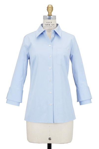 Michael Kors Collection - Blue Stretch Cotton Double Cuff Shirt