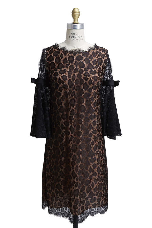 Black Leopard Lace Bell Sleeve Dress