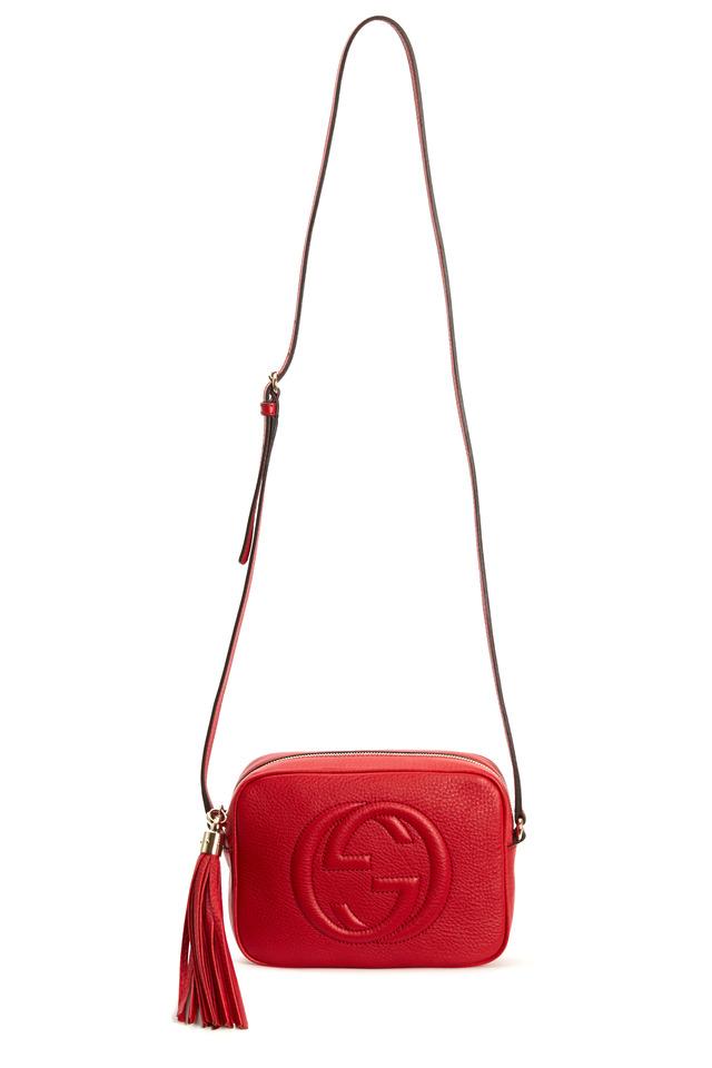 Red Leather Small Crossbody Embossed GG Handbag