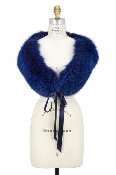 Oscar de la Renta Furs - Cobalt Blue Fox Fur Satin Tie Airgallon Stole