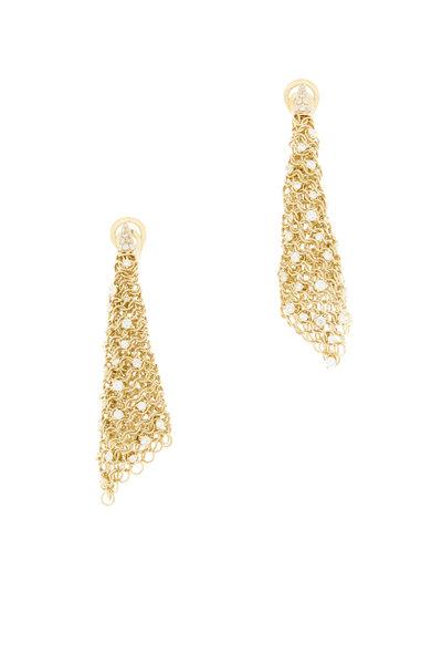 Mattia Cielo - 18K Yellow Gold Diamond Maglia Drop Earrings