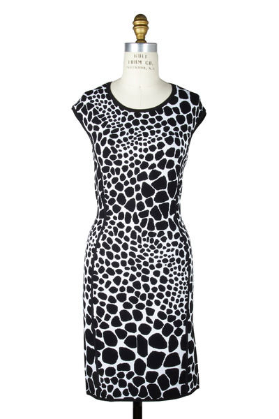 Michael Kors Collection - Black & White Print Cap Sleeve Crewneck Dress