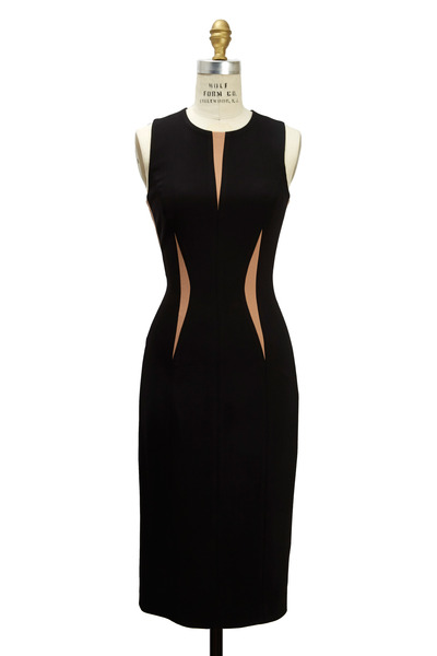 Michael Kors Collection - Black Straight Pebble Contrast Inset Dress
