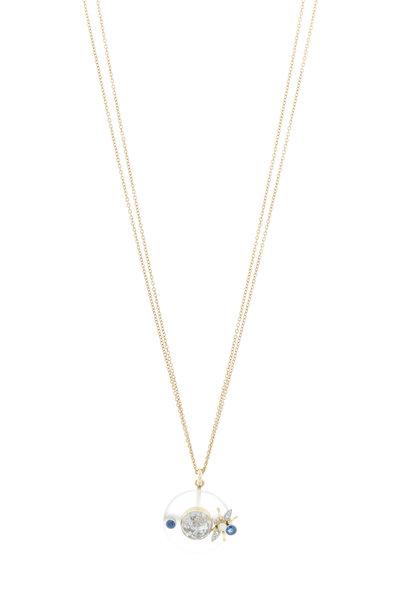Renee Lewis - Yellow Gold Quartz Sapphire Diamond Shake Necklace