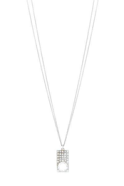 Renee Lewis - White Gold Quartz Crystal Antique Diamond Necklace
